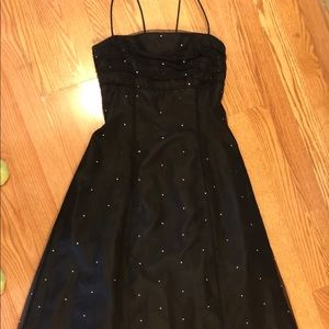 PROM long dress- black with crystals